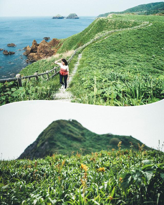 山の中腹。上から見下ろした風景、下から見上げた風景。