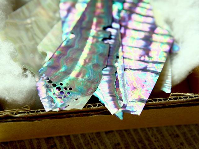 アワビの螺鈿材。1枚の中に、紫・青・緑などのさまざまな色が。