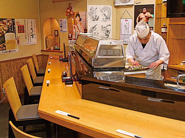 ひょうたん自慢の握り寿司カウンター