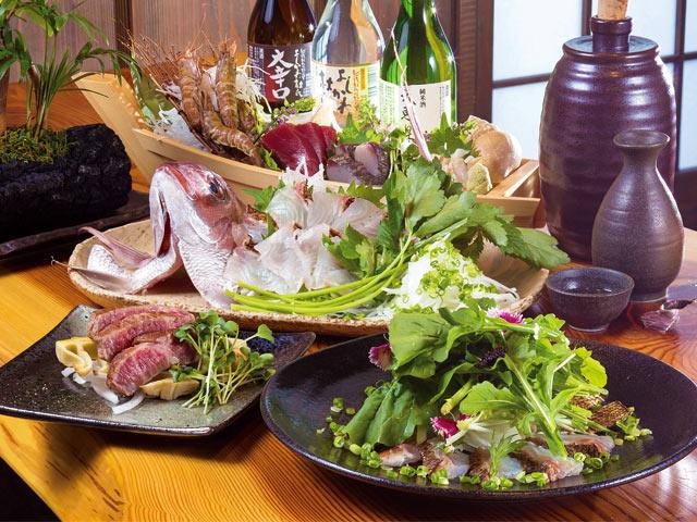 とれたて野菜や旬の魚介、厳選した肉などを使った創作料理とよく合う地酒が揃います