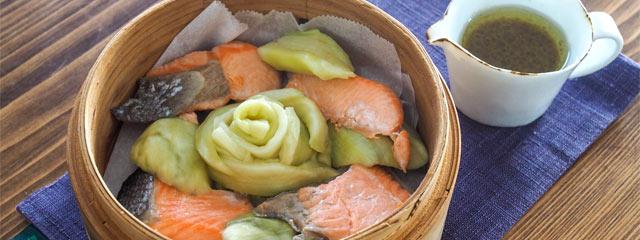 なすの鮭蒸しのレシピ