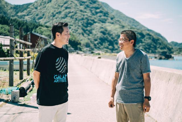 芸術祭として毎年何かしら発信していきたい、そして継続していくことが大切と語る吉田さんと梶井さん。