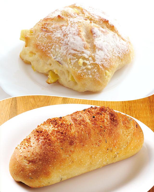 〈おいもとクリームチーズ〉(324円)、〈黒コショウハーブ〉(216円)