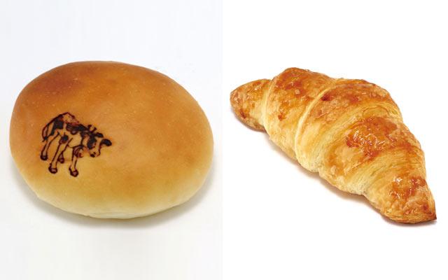 牛の焼印がかわいらしいクリームパン(3個入り280円)と、発酵バターのクロワッサン(3個入り300円)。