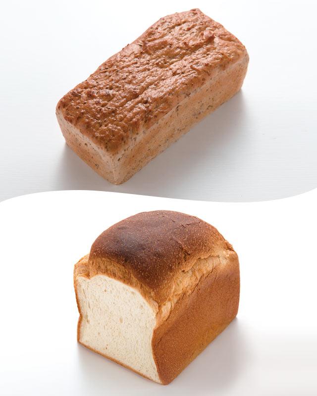 玄米粉と米粉で作る玄米ブレッド(864円)と、米粉を80%使用したロイヤルブレッド(1斤356円)。
