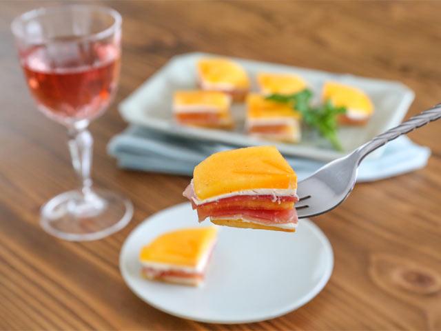 おけさ柿とチーズのミルフィーユ