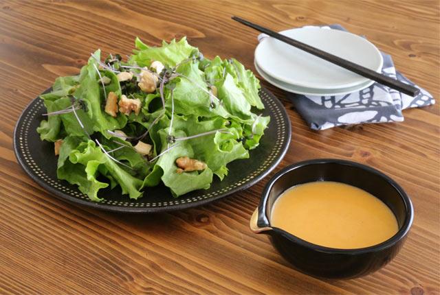 おけさ柿ドレッシングのサラダ
