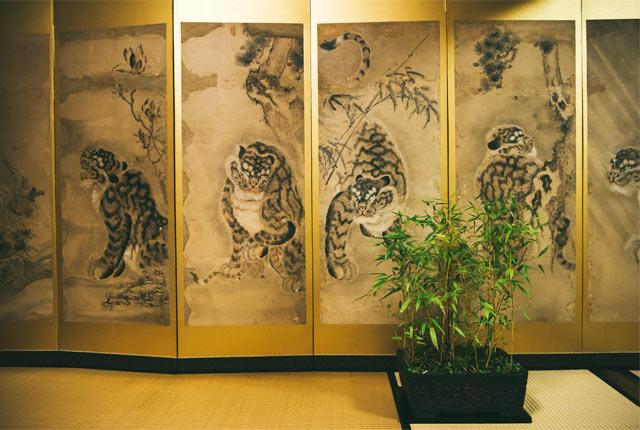 九重園の虎の屏風