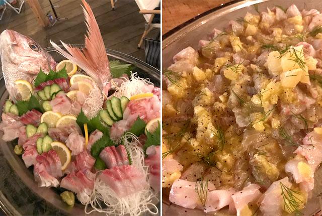 新鮮な鯛のお刺身(左)と、カルパッチョ(右)