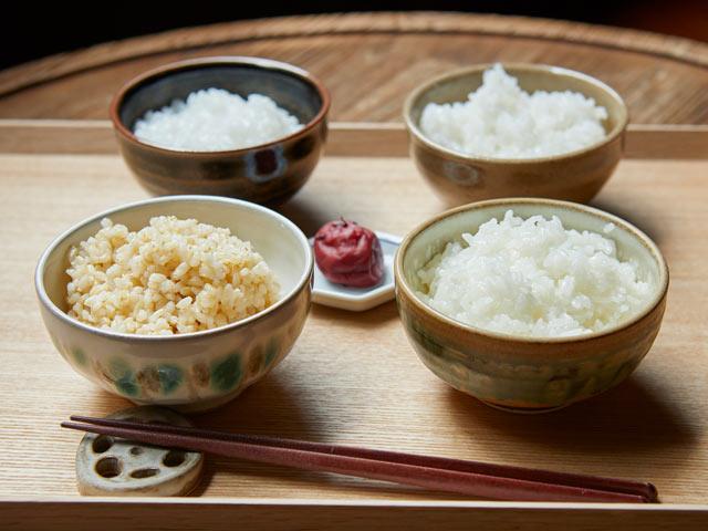 普通に炊かれたご飯と、3種類の特別なご飯