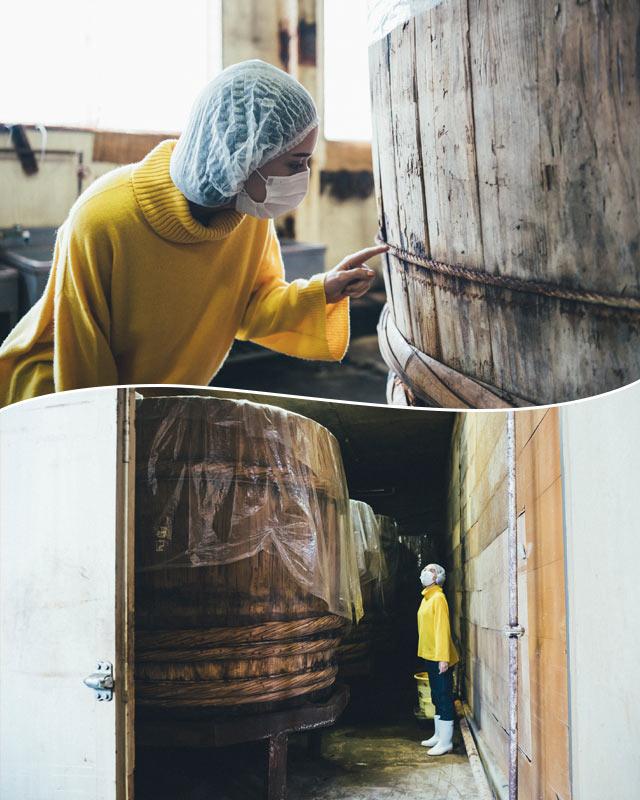 最大で味噌を約4トンも仕込める杉の木桶