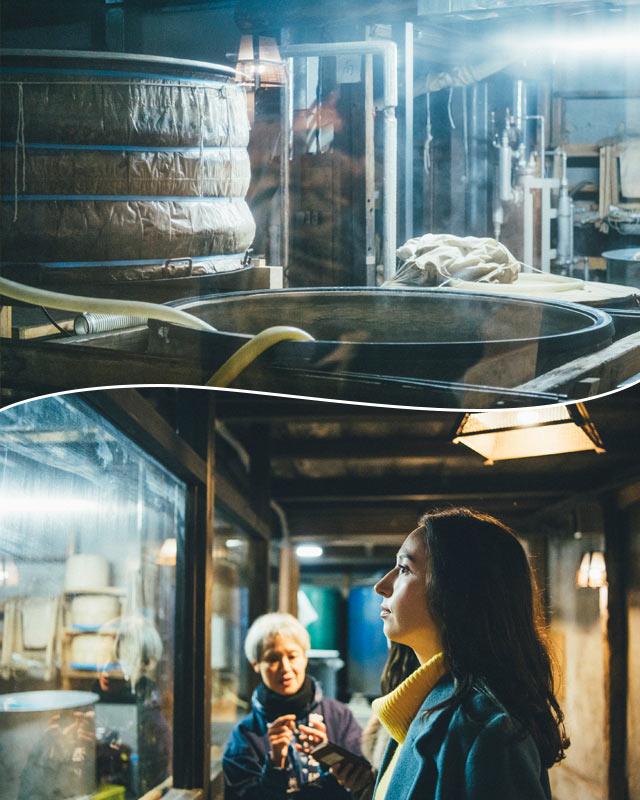 米を蒸し上げる作業場を見学