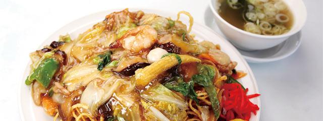 〈中華料理 シャーレン〉のカタ焼きそば