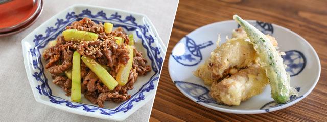 八色産すいかを使った牛肉のピリ辛炒めと豚肉梅天ぷら
