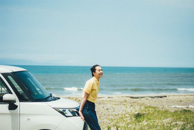 浜辺をドライブ