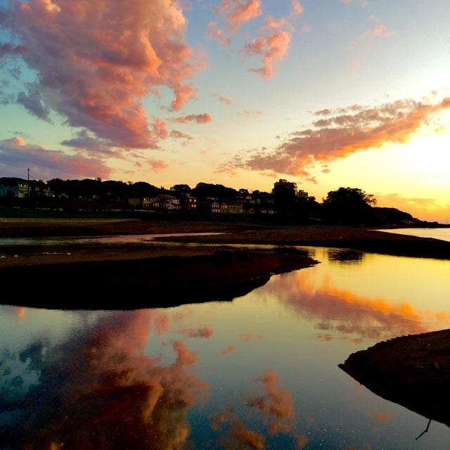 柏崎の海に日が沈む