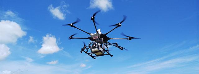農作業用ドローンが飛行中