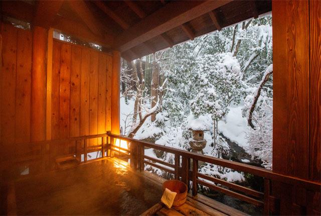 雪見風呂が楽しめる