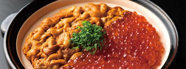 〈若旦那〉の雲丹といくらの伊賀焼土鍋ご飯