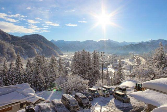 客室からの雪景色