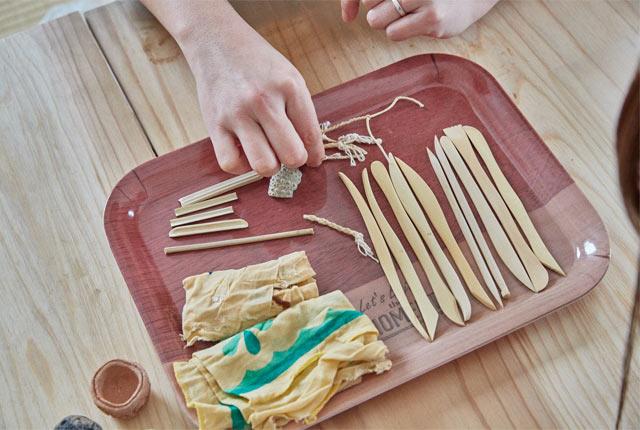 ヘラや竹串など土器づくりの道具