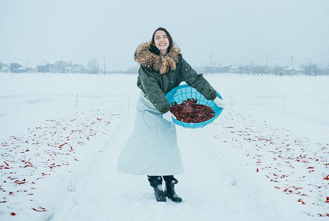 唐辛子を雪の上に撒く