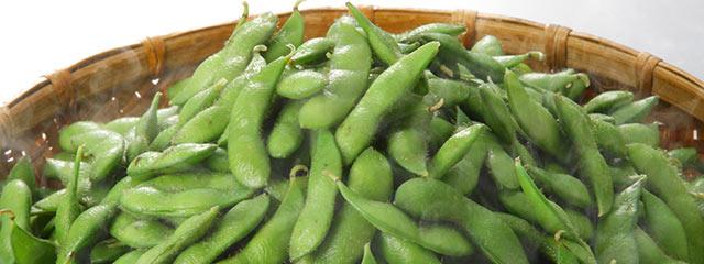 茹で上がった新潟産枝豆