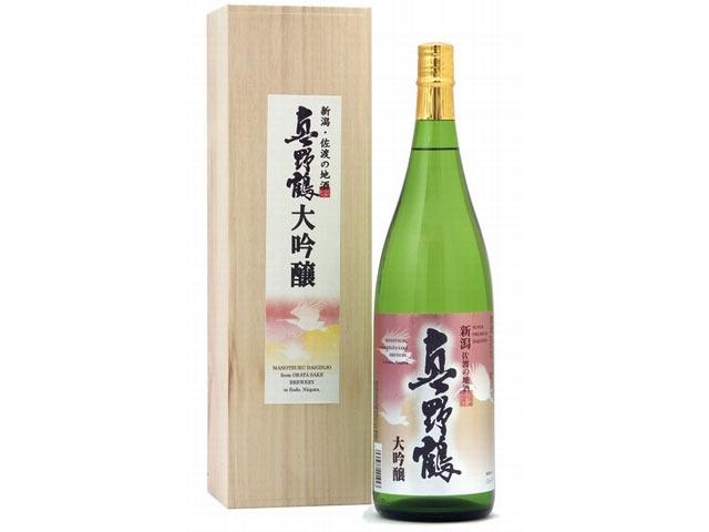 「真野鶴 大吟醸」の一升瓶