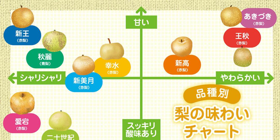 実は新潟も名産地! 梨の品種別味わいチャート&旬カレンダー