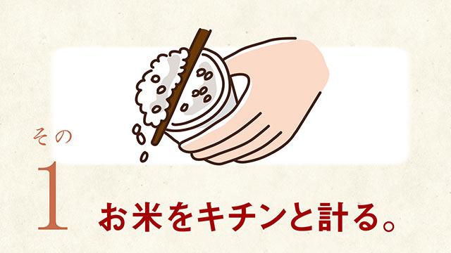 お米を計るイラスト