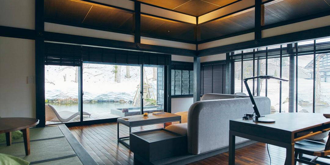 豪農の館が連なるモダンな温泉宿〈ryugon〉