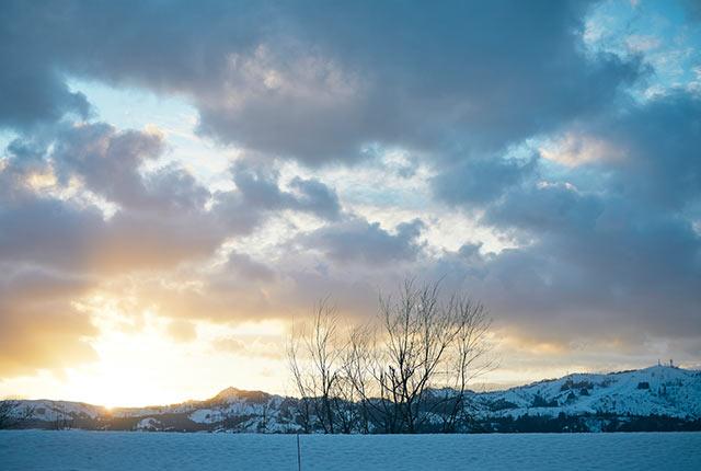 夕方の雪景色