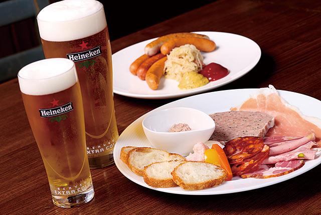ソーセージ&ハムとビール