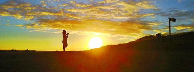 二ツ亀荘から見える朝焼け