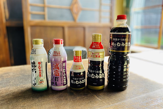 〈越のむらさき〉の醤油各種